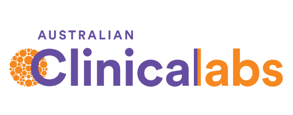 Yellow and Purple logo of Australian Clinical Labs that conducts flu testings for workplace employees